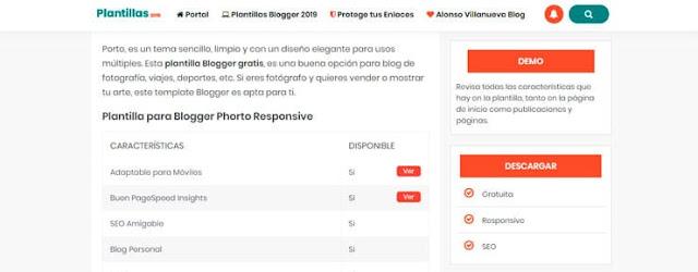 Cuerpo de la web de descarga de Plantillas Blogger gratis