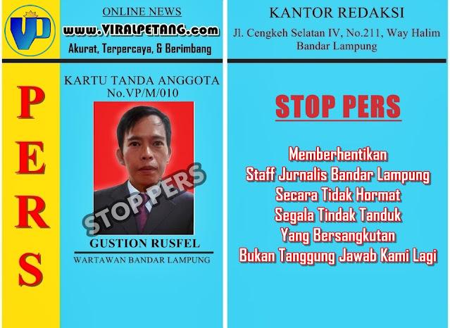 Info Redaksi VP: Stop Pers Staff Jurnalis Bandar Lampung
