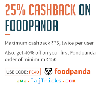 (Latest Coupon) Foodpanda - flat 40% Off on First Order + 20% Cashback on FreeCharge wallet