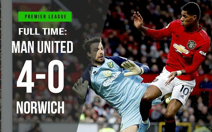 Man United 4-0 Norwich, Rashford Hit Brace As Martial & Greenwood Scores (Details, Photos & Highlight)