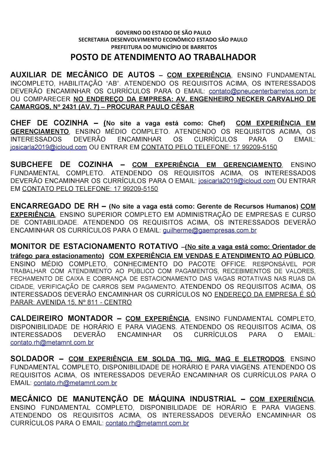 VAGAS DE EMPREGO DO PAT BARRETOS-SP PARA 27/07/2020 PUBLICADAS NA TARDE DE 24/07/2020 - PAG. 5