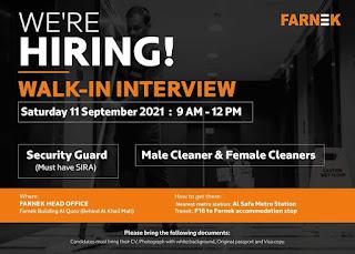 Farnek Services LLC Recruitment  Security Guard,  Cleaners (Male & Female), CAFM Operator/Admin Walk In Interview