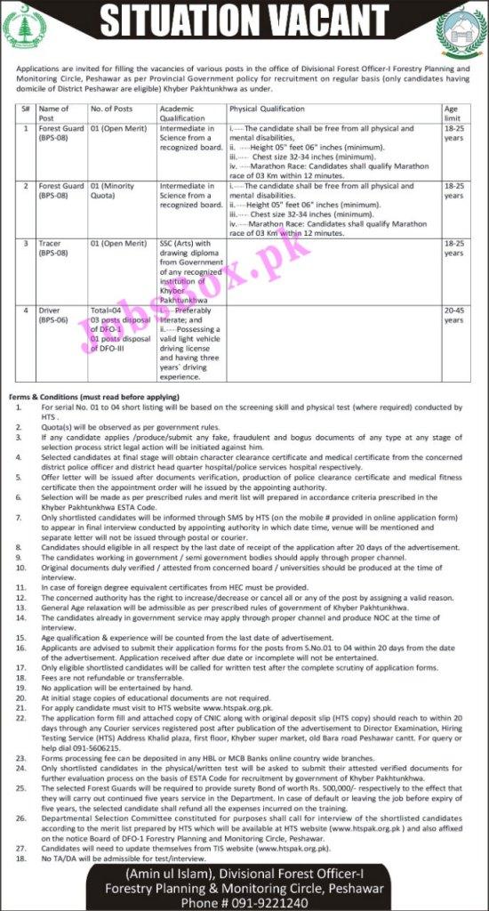 www.htspak.org.pk - Forest Department Peshawar Jobs 2021 in Pakistan
