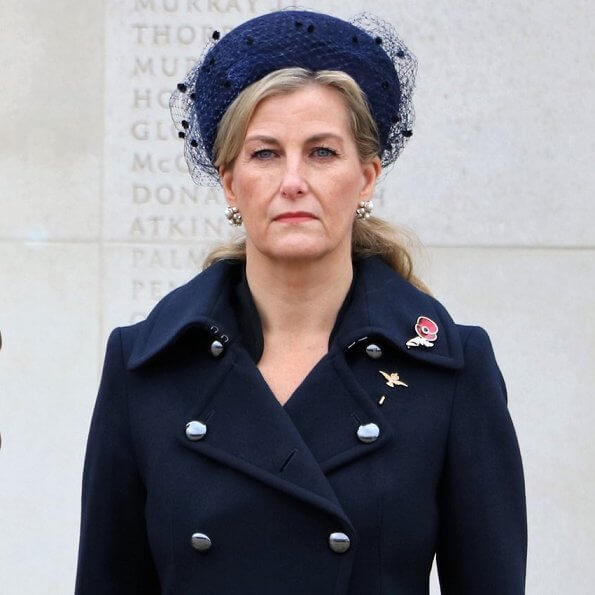 The Countess of Wessex wore a navy wool double breasted military coat