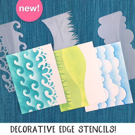 Waves & Splashes, Hills & Grass, and Clourds Stencils | Decorative Edge Stencils for layering and masking by Newton's Nook Designs #newtonsnook