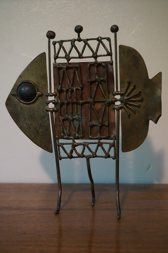 sculpture poisson  brutalist fish sculpture mid century Jarc 1950s 50s modernist