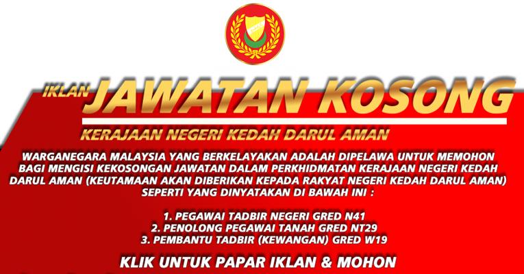 Jawatan Kosong Di Kerajaan Negeri Kedah Jobcari Com Jawatan Kosong Terkini