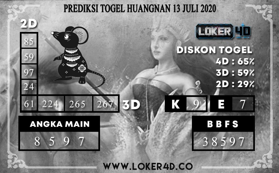 PREDIKSI TOGEL LOKER4D HUANGNAN 13 JULI 2020