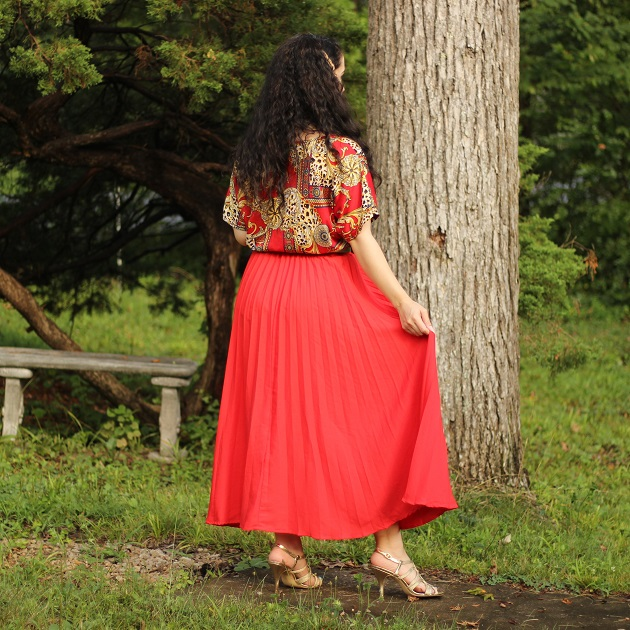 Shein Red Pleated Skirt