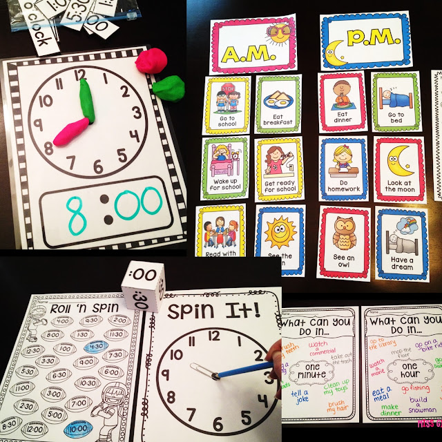 Telling time in kindergarten and first grade is easy with these fun telling time activities and games that make learning fun and hands on for small groups or centers - there are ideas for the entire year of math!