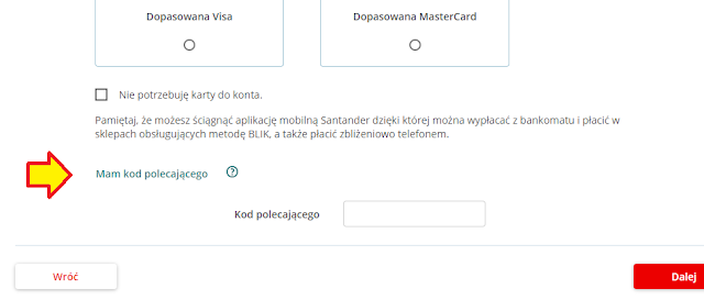 Gdzie podać kod polecający we wniosku o Konto Jakie Chcę w Santander Banku?