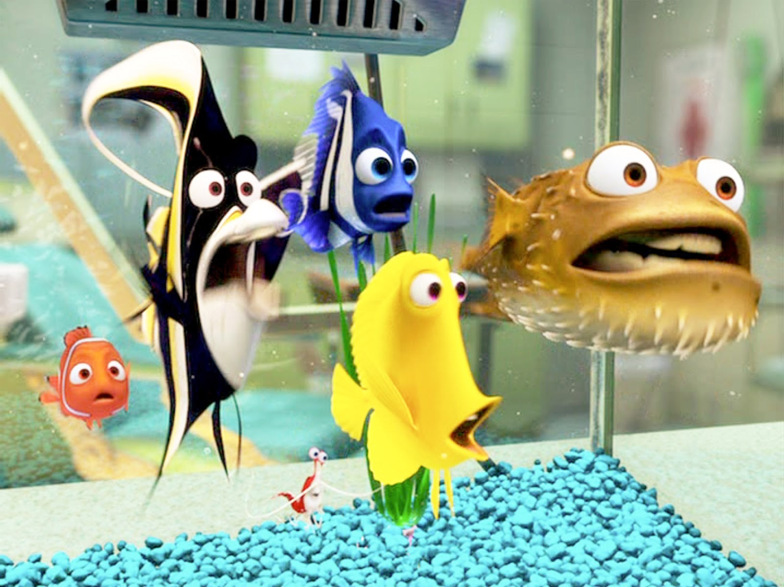 Fish in the tank finding nemo - The Computer Animated Movie Finding Nemo Directed By Andrew Stanton Seen Here In The Fish Tank From Left Nemo A Clownfish Voiced By Alexander