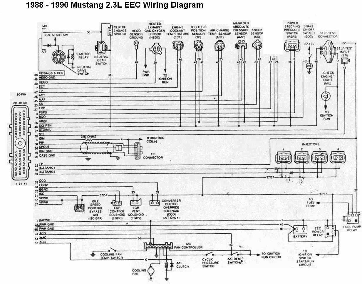 ford mustang 1988-1990 2.3l eec wiring diagram | all about ... s10 gauge cluster wiring diagram schematic #11