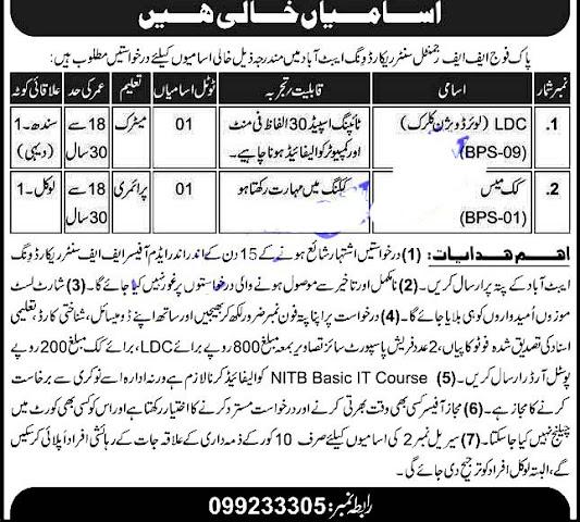 Pak Army FF Regimental Center Record Wing Latest Jobs 2021