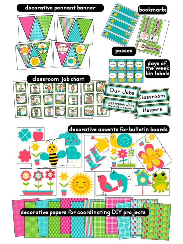 Classroom Ideas Printables ~ Garden themed classroom ideas printable