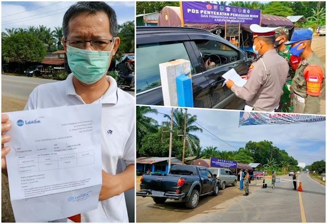 Polres Rohil Lakukan Penyekatan Pra Peniadaan Mudik  di Perbatasan Sumut- Riau