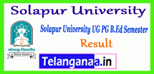 Solapur University UG PG B.Ed Semester 1st 2nd 3rd 4th 5th 6th Result
