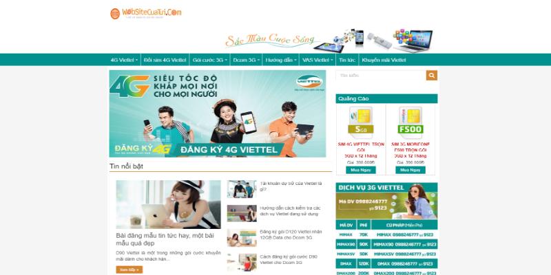 Mẫu website bán data vào mạng miễn phí