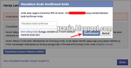 Cara Membuat Facebook - Kode Konfirmasi