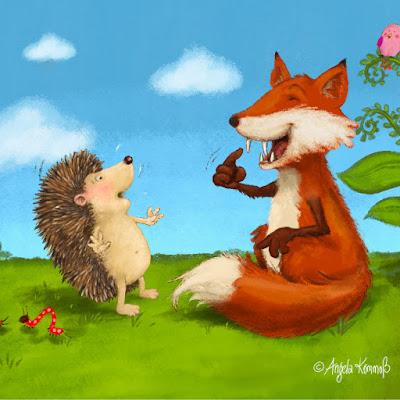Der Igel, der wissen wollte, wie viele Stacheln er hat, Igel, Kinderbuchillustration, Fuchs, niedlich, malerisch