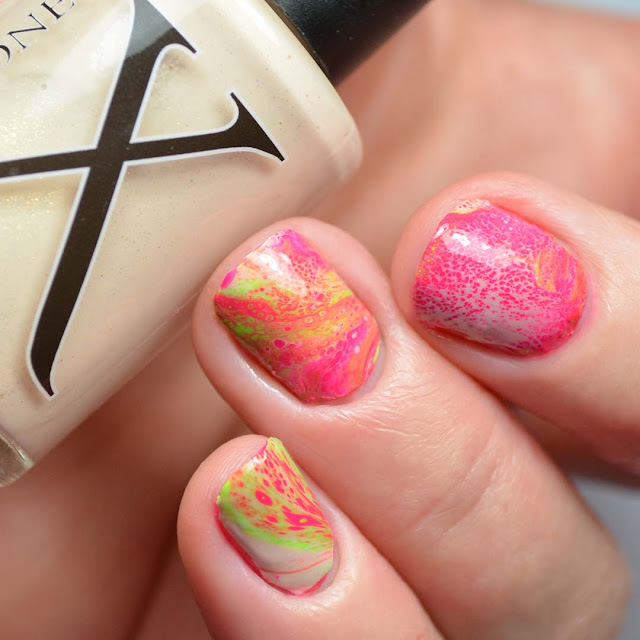 creme fluid art nail polish neon