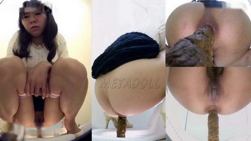 [SR-002] Girls shitting out big turds. Toilet hidden camera