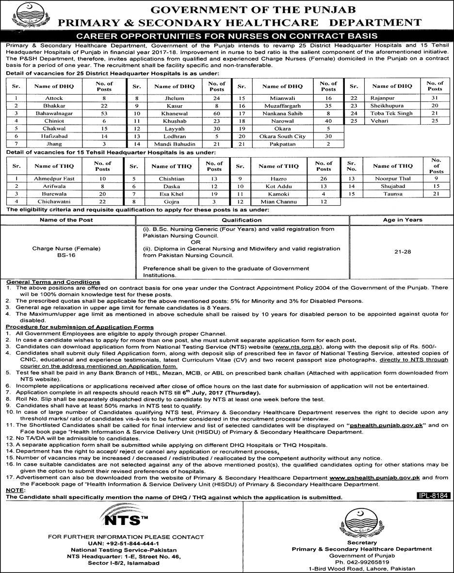 Jobs in Primary & Secondary Health Care Department 2017
