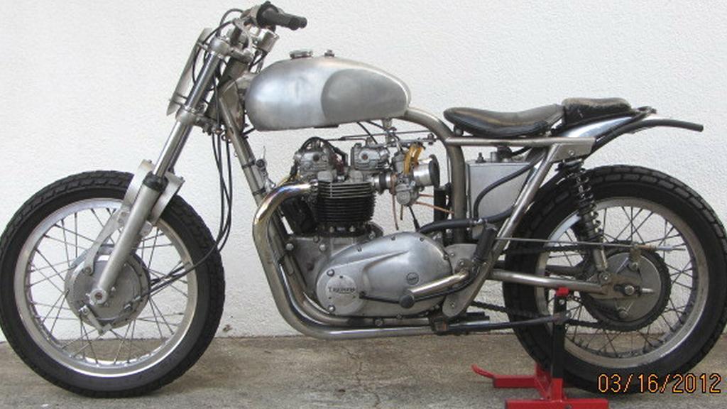 Small Sun Vintage Raw Metal Triumph T120r Trackmaster