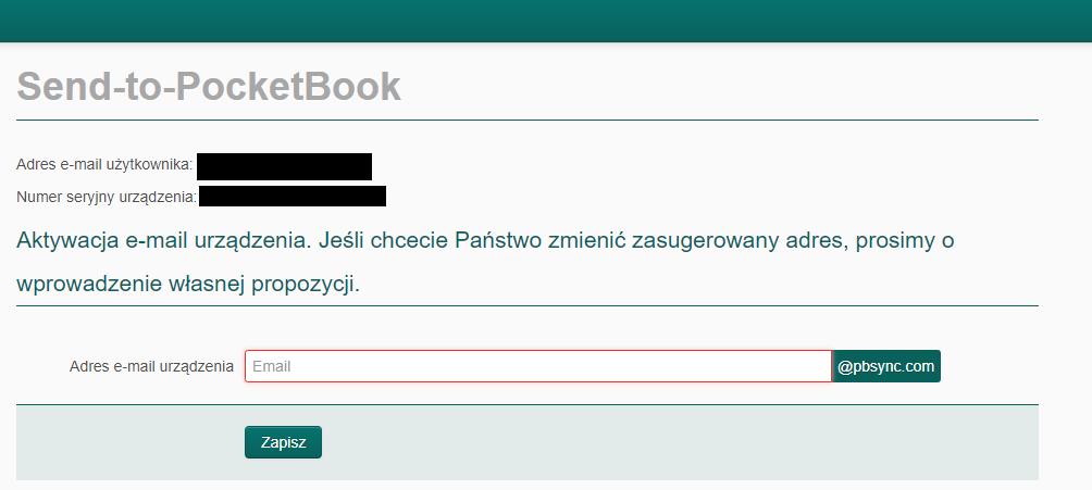 Wpisywanie adresu e-mail przypisywanego do czytnika w usłudze Send-to-PocketBook
