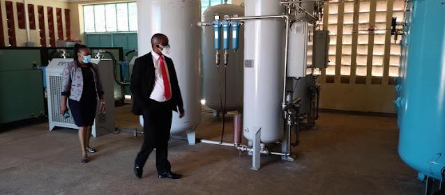 Embu County Deputy Governor David Kariuki tours the oxygen plant  at Embu hospital photo