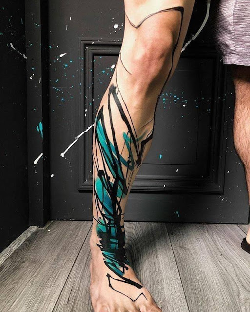 flower tattoos on leg and foot