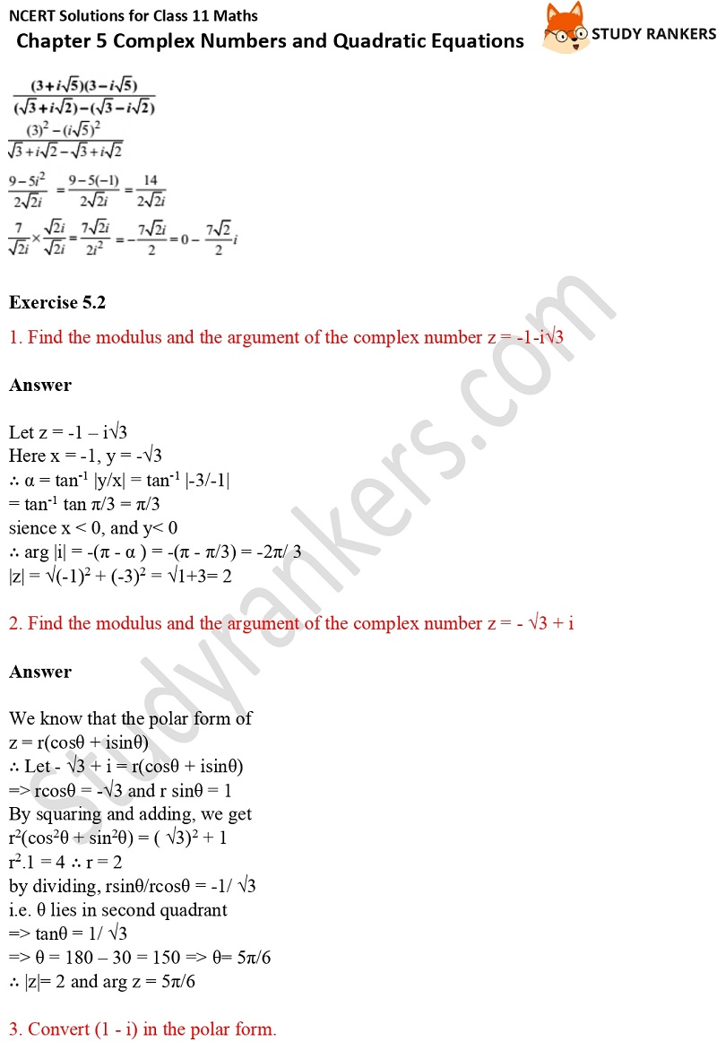 NCERT Solutions for Class 11 Maths Chapter 5 Complex Numbers and Quadratic Equations 4