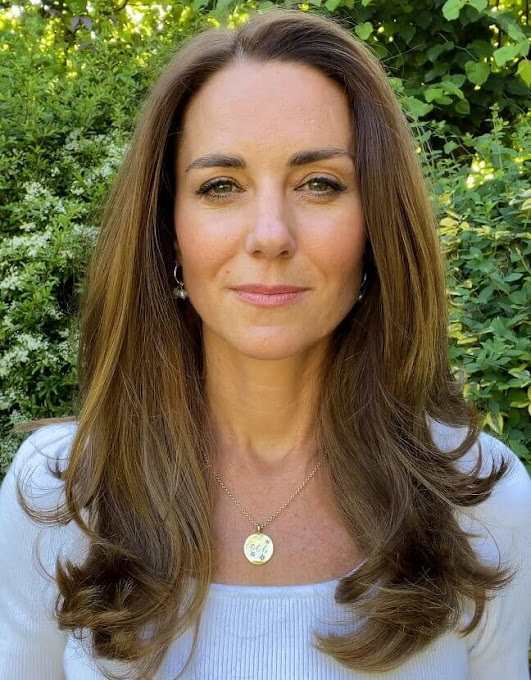 Kate Middleton wore a Nadalia top from Ralph Lauren, and gold hoops with pearls from Freya Rose