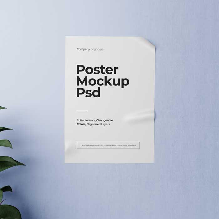 Crumpled Poster PSD Mockup