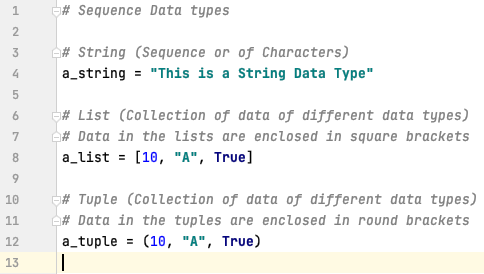Sequence data types in Python