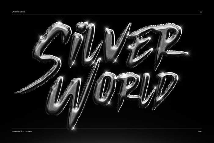Chrome Silver World PSD Text Effect Mockup