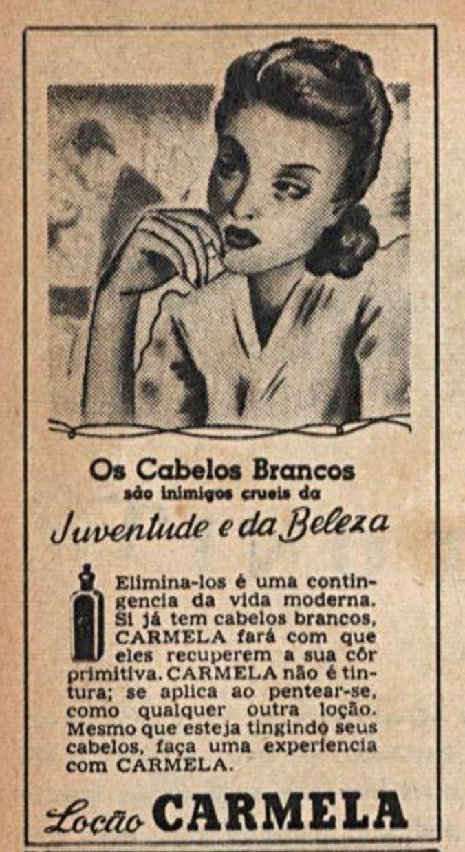 Anúncio da loção Carmela veiculada em revistas no começo dos anos 50