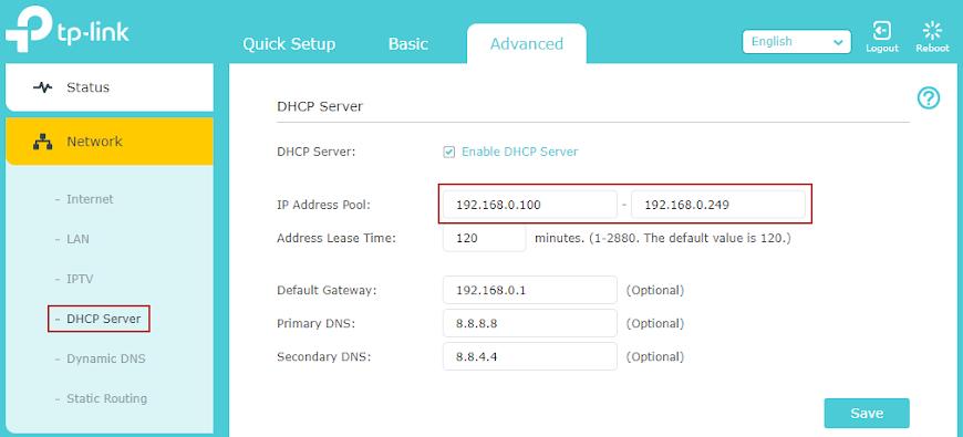 Setări DHCP router TP-Link Archer C6(U)
