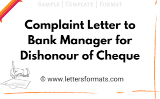complaint letter to bank manager for dishonour of cheque