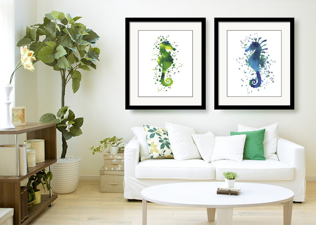 Watercolor Silhouette Of Seahorses In interior Decor Beach House Style