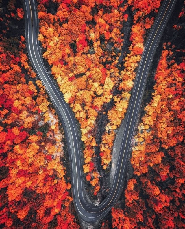 Beautiful autumn paradise in the northeastern United States