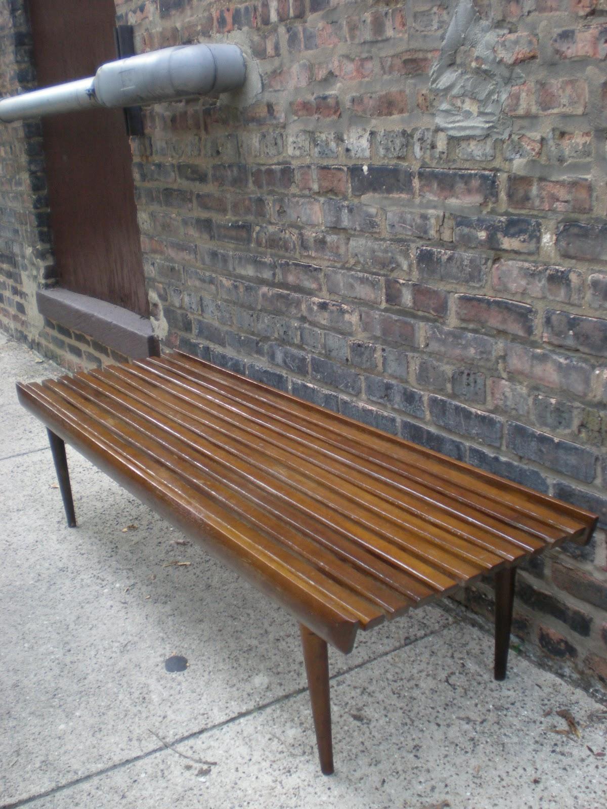 Mid Century Chicago: Walnut Slat Bench
