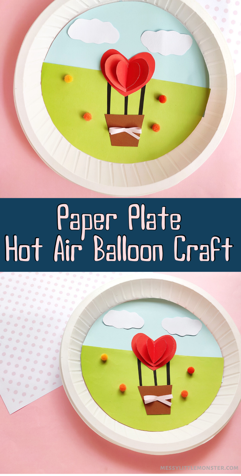 Heart hot air balloon craft. A fun and easy paper plate craft for kids.