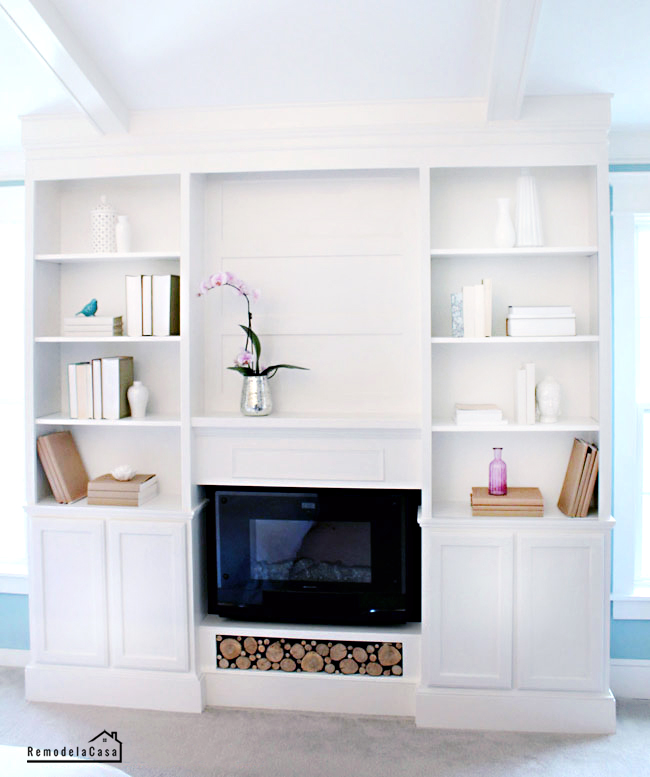 how to build a set of bookcases with fireplace in between them