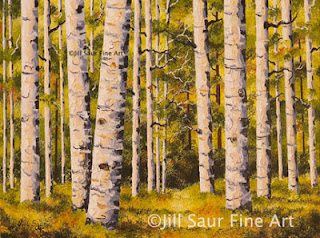 atlanta art galleries, commission aspen painting, trees in art