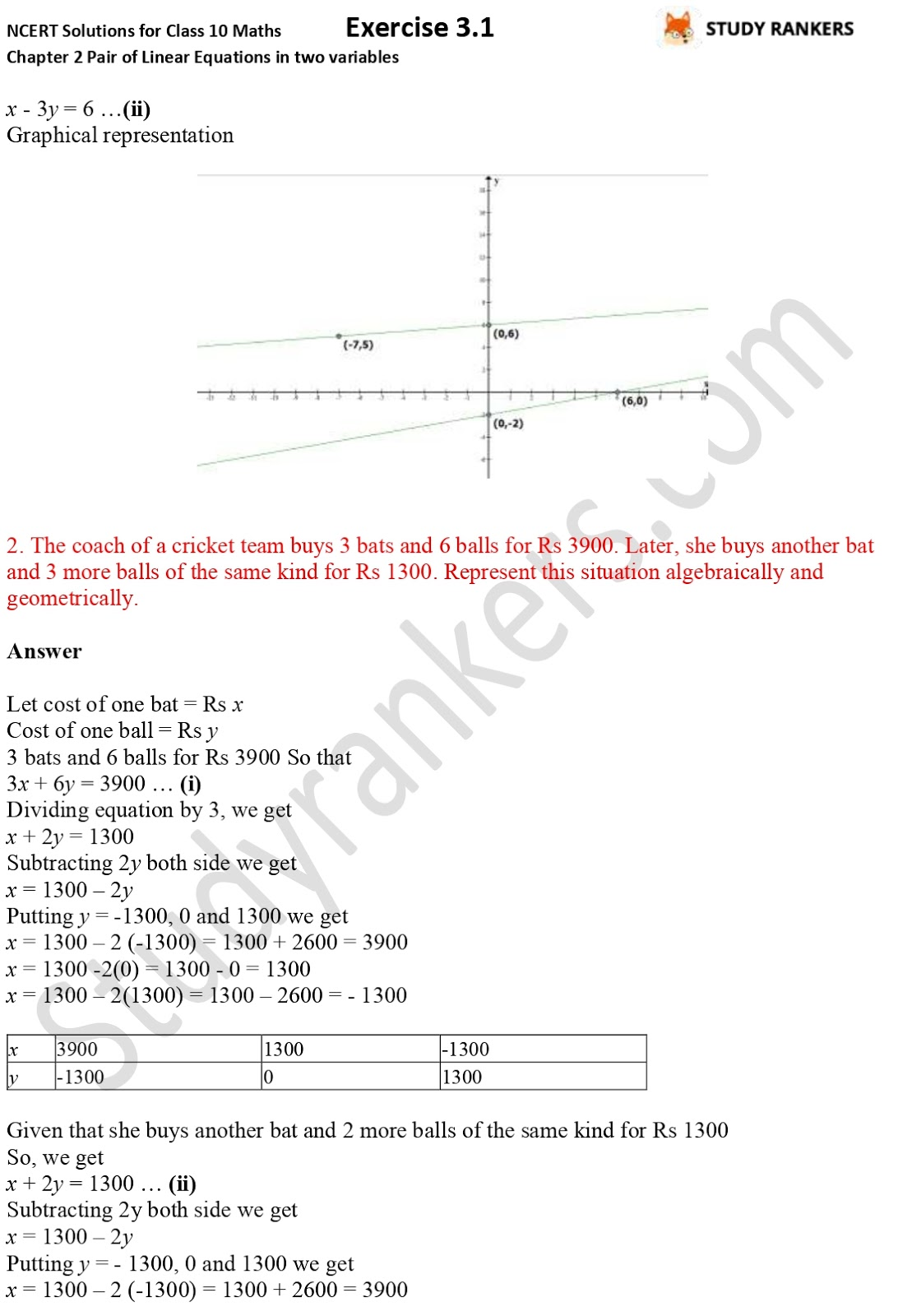 NCERT Solutions for Class 10 Maths Chapter 3 Pair of Linear Equations in Two Variables Exercise 3.1 Part 2