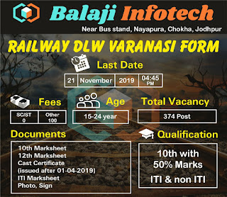 Railway DLW Varanasi Apprentice Recruitment 2019