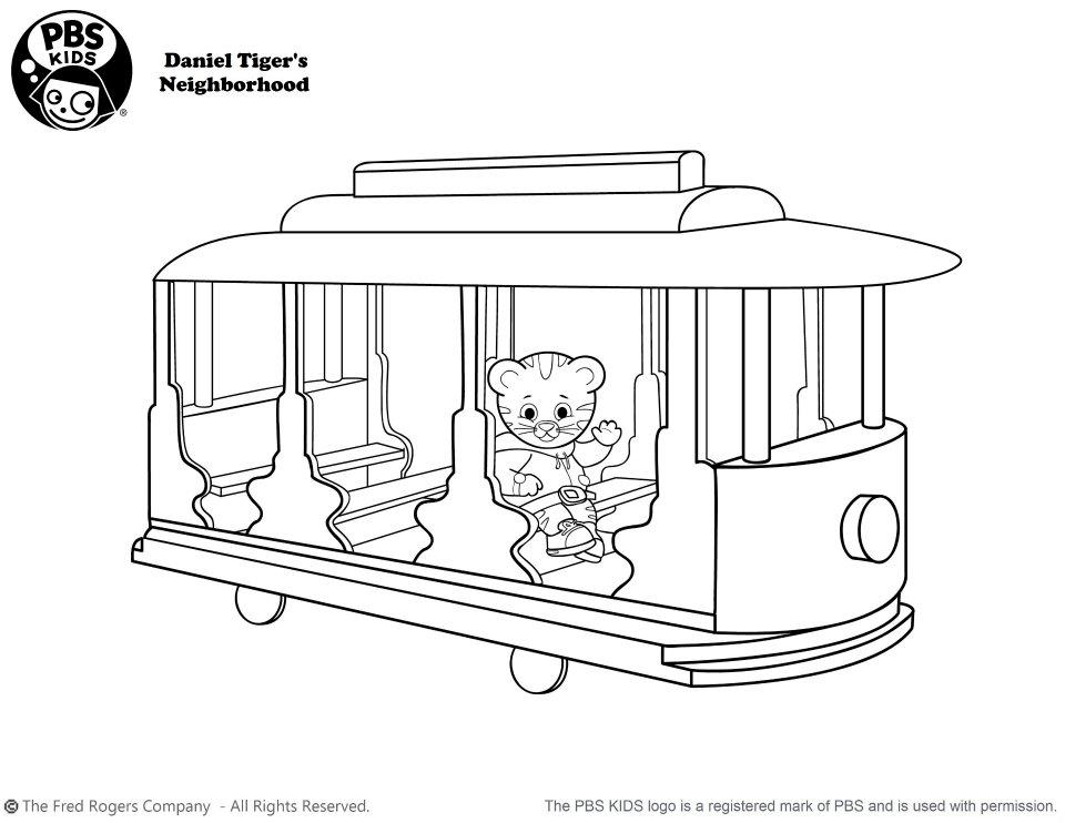 Daniel Tiger Trolley Coloring Page | Coloring Page