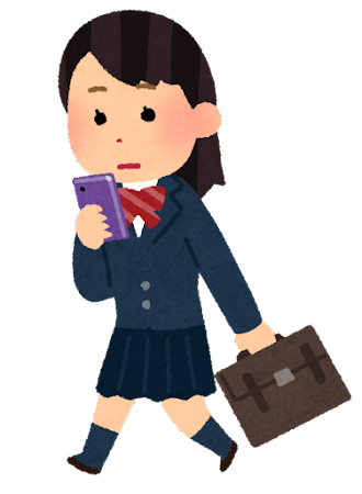 歩きスマホのイラスト(女子学生)