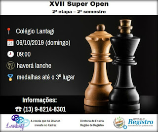 2ª etapa do XVII Super Open de Xadrez será neste domingo, dia 06